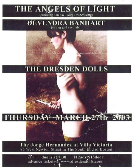 flyer from Dresden Dolls March 2003 show